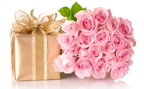 Wallpaper flowers, box, gift, bouquet, bow, roses. pink