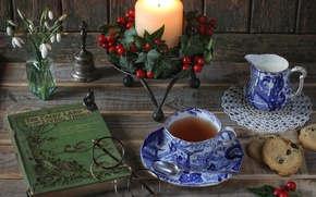 Picture tea, candle, milk, cookies, glasses, snowdrops, book, still life, bell, Holly, Holly