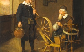 Wallpaper Quirin van Brekelenkam, spinning wheel, window, rod, picture, genre, Interior with Angler and Spinner
