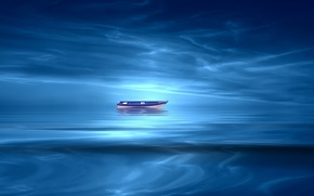 Picture lake, paint, boat, styling, Josep Sumalla