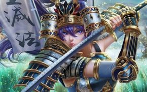 Picture girl, sword, anime, art, Senki Zesshou Symphogear