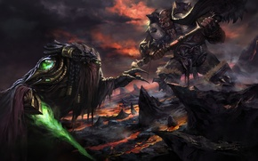 Picture warrior, Orc, wow, world of warcraft, Garrosh Hellscream, Garrosh Hellscream, Garrosh vs Zeratul