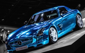 Picture blue, Mercedes, Mercedes, Benz, AMG, SLS, blue, electric, AMG, drive, SLS, on the podium