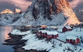 Picture snow, mountains, village, Norway, sunset, water, village, Norway, Hamnoy