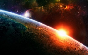 Picture the sun, stars, the atmosphere, Planet