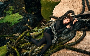 Picture pose, stones, makeup, dress, actress, hairstyle, Tina, lies, brown hair, ropes, legs, boots, photoshoot, cables, …