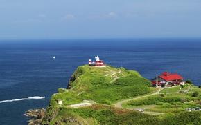 Picture sea, Japan, home, dal, Hokkaido, green hill