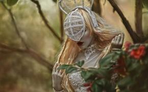 Picture girl, fantasy, hair, mask, art, Agnieszka Lorek, Ryo Love, Her secret