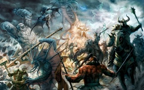 Wallpaper the battle, dota, chaos, herring, goat, DotA, Defense of the Ancients, sicker, akasha, tini, Jagger, ...