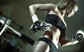 Picture blonde, fitness, gym, dumbbell