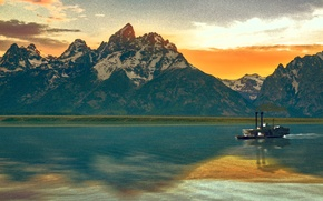Picture water, sunset, mountains, Ship