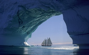 Picture ice, sea, ship, sailboat