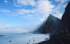 Picture road, sky, water, clouds, mountain, fog, liquid, shore, highway, bank, street lamps