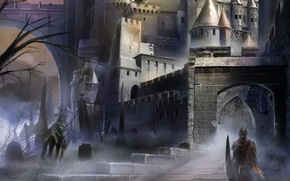 Wallpaper dark, castle, soldier, armor