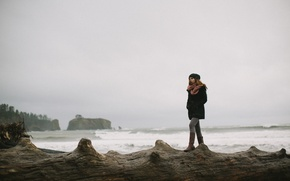 Picture girl, loneliness, the ocean, shore, Danielle