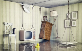Picture room, creative, interior, chair, wardrobe, lamp, TV, swing, the flood, duck
