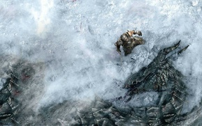 Picture snow, dragon, hero, battle, The Elder Scrolls Skyrim