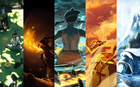 Picture water, fire, earth, element, magic, art, the air, avatar, avatar, Korra, Times, The Legend of …