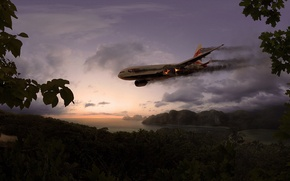 Picture people, island, the crash, The sky, jungle, torch, the plane