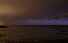 Picture sea, the sky, clouds, night, the city, lights, lightning