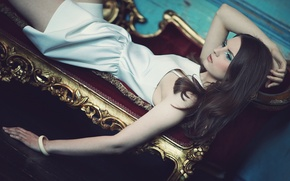 Picture girl, makeup, dress, brunette, bracelet, decoration, couch