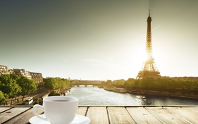 Picture table, France, coffee, Cup, Eiffel tower, a Cup of coffee
