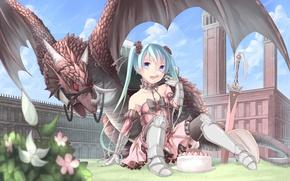 Picture the sky, girl, clouds, flowers, castle, dragon, sword, art, cake, vocaloid, hatsune miku, Vocaloid, song