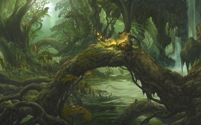 Wallpaper dragons, thicket, art, water, ucchiey, if kazama uchio, spirit, forest