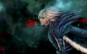 Picture abstraction, elf, feathers, art, guy, dragon age, fenris, rinacane
