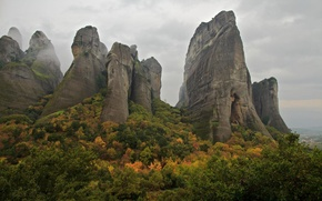 Picture autumn, the sky, clouds, trees, mountains, rocks, Greece, Meteors