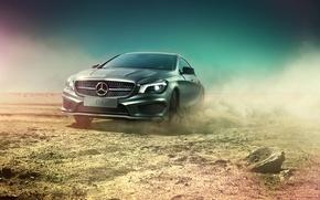 Picture desert, Mercedes-Benz, dust, skid, AMG, silvery, CLA, CLA-class, C117