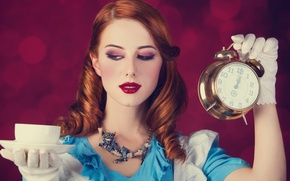 Picture look, girl, blue, makeup, dress, alarm clock, Cup, gloves, red, Alice in Wonderland, Alice in …
