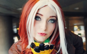 Picture eyes, girl, girl, eyes, Marvel, comic, comics, Rogue, cosplay, Cosplay