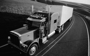 Picture grass, hills, track, American, truck, tractor, the truck, Trak, Peterbilt, Peterbilt