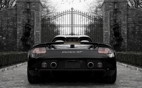 Picture black, Porsche, Porsche, black, the gates, back, carrera, Carrera, gate