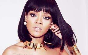 Picture girl, decoration, face, makeup, actress, brunette, singer, Rihanna, Rihanna