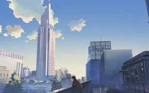 Wallpaper the sky, the city, home, skyscrapers, Anime, guy, is, makoto sinkaj, gorod
