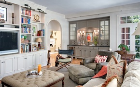 Picture room, books, interior, picture, chair, pillow, TV, living room
