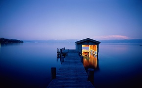Picture water, light, night, lights, lake, house, river, landscapes, beauty