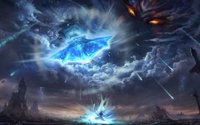 Picture the sky, eyes, clouds, weapons, people, God, sword, art, meteorites, deity, feng liu, pursue, punishing