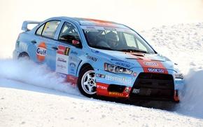 Picture winter, car, machine, snow, sport, Wallpaper, skid, sport, car, mitsubishi, cars, rally, Kar, lancer, winter, …