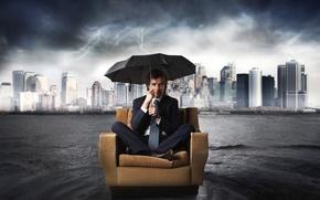 Picture water, the city, rain, zipper, chair, umbrella, costume, tie, male