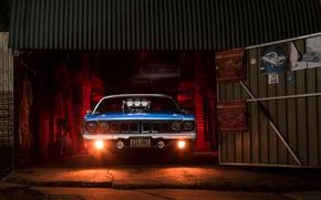Wallpaper garage, Plymouth Barracuda, light, Chrysler, muscle car
