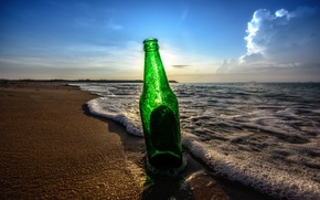 Picture beach, the sky, clouds, bottle, beer, shadows, sunrise