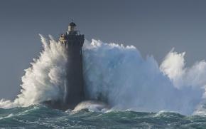 Picture wave, storm, wave, storm, blue, sea, lighthouse, sea, lighthouse