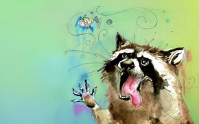 Wallpaper language, animal, figure, color, fish, watercolor, raccoon, bubble, a gargle, slut