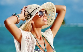 Picture sea, summer, the sun, smile, mood, hat, glasses, blonde