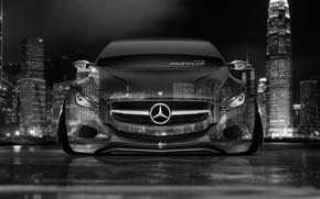 Picture Mercedes-Benz, Auto, Night, The city, Machine, Mercedes, Black And White, Wallpaper, City, Mercedes, Car, Art, …