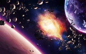 Wallpaper planet, ships, stars, nebula, asteroids