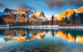 Picture forest, mountains, lake, river, morning, Canada, Albert, Canmore